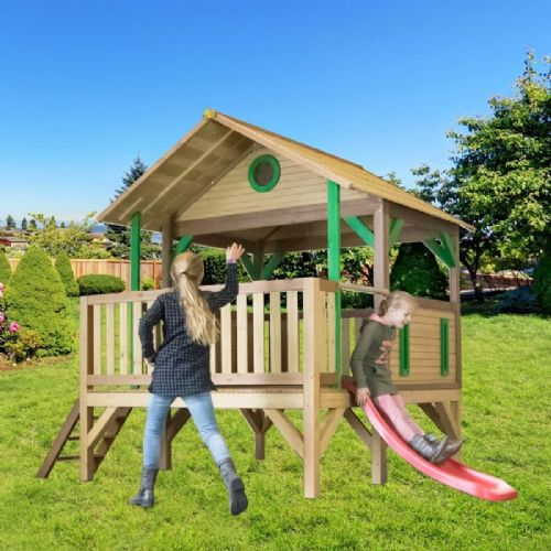 Jungle Lodge Wooden Playhouse With Slide